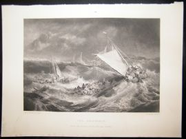 After Turner 1861 Antique Print, The Shipwreck, Maritime, Art Journal